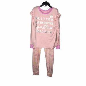 Tahari Girl Pink Glitter and Rainbow Pajama Set